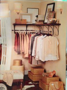 Corner closet. Good idea if you don't big closet