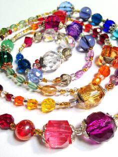 Crystal and Glass Scarf Wrap Necklace by westhillstudiojewel, $64.00