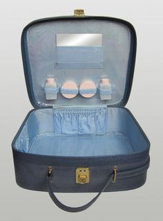 Vintage 1960s Blue Vanity Travel Case With Key & Bottles available to buy online at Virtual Vintage Clothing £28