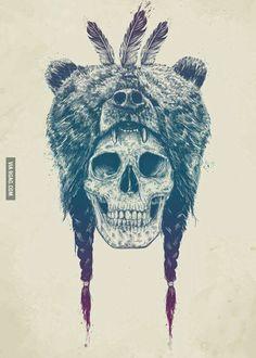Dead shaman Art Print by Balazs Solti Bear Tattoos, Animal Tattoos, Body Art Tattoos, Sleeve Tattoos, Spirit Animal Tattoo, Horse Tattoos, Native Tattoos, Viking Tattoos, Celtic Tattoos