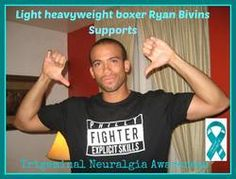Thank you Ryan Bivins for not only wearing teal but wearing our #trigeminalneuralgia awareness ribbon on your boxing truck for your fight on 10/18/2014 in support of our awareness day on 10/7/2014!