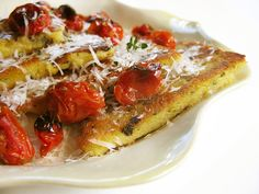Mushroom and Herb Polenta Cakes with Romano and Roasted Grape Tomatoes.