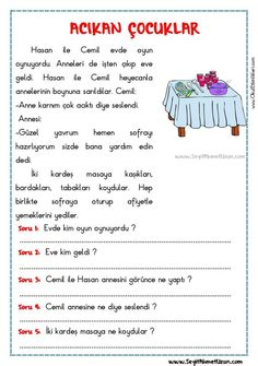 Learn Turkish Language, Montessori, Picture Composition, Reading Passages, Worksheets, Teacher, Activities, Education, Learning