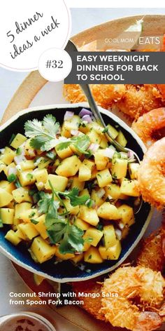 We're all getting busier, but kids are still hungry - go figure! These 5 dinner ideas, like this Coconut Shrimp with Mango Salsa from Spoon Fork Bacon, are as delicious as they are simple. #mealplan #familydinner #dinnerideas #feedingkids #shrimprecipe Thanksgiving Dinner Recipes, Easy Dinner Recipes, Dinner Ideas, Healthy Family Dinners, Easy Weeknight Dinners, Cooking For A Crowd, Lamb Recipes, Side Dishes Easy, Easy Healthy Recipes