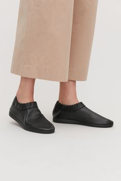 Cos Slip-On Leather Sneakers - Black Sneaker Outfits, Leather Trainers, Leather Sneakers, Cos Shoes, White High Heels, Buy Shoes Online, Clearance Shoes, Mens Fashion Shoes, Slip On Sneakers