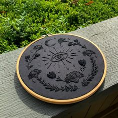 Another custom black on black embroidery ? : Embroidery Witch aesthetics Another custom black on black embroidery ? Hand Embroidery Stitches, Modern Embroidery, Embroidery Hoop Art, Crewel Embroidery, Cross Stitch Embroidery, Custom Embroidery, Embroidery Ideas, Embroidery Supplies, Knitting Stitches