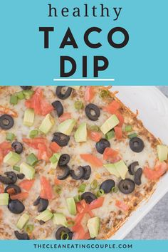 The Healthy Taco Dip Recipe made with no cream cheese! This hot taco dip is so quick to make with ground beef & tastes amazing! High in protein, keto friendly and so delicious. Easy Clean Eating Recipes, Healthy Tacos, Healthy Gluten Free Recipes, Healthy Appetizers, Appetizer Recipes, Snack Recipes, Snacks, Keto Recipes, Healthy Eating