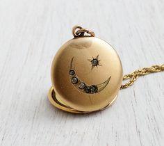 Antique Star Moon Locket Necklace - Edwardian Gold Filled Round Paste Stone Pendant / Victorian Crescent