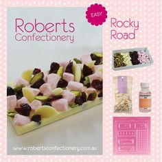 - 300g pkt Roberts Confectionery Chocolate - Roberts Confectionery Strawberry Oil - Assorted Chocolate Bar mould No. 36  - Small Pink Marshmallows - Pistachio Nuts - Cranberries - White Chocolate pieces