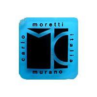 Carlo Moretti Murano glass clear plastic label.