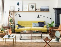 The Loft is inspiration abound, a conceptual pop-up store showcasing luxurious lighting, furnishings, homeware and textiles in Amsterdam, The Netherlands. The Loft, Loft Stil, Decoracion Vintage Chic, Yellow Sofa, Living Spaces, Living Room, Interior Decorating, Interior Design, Decorating Ideas