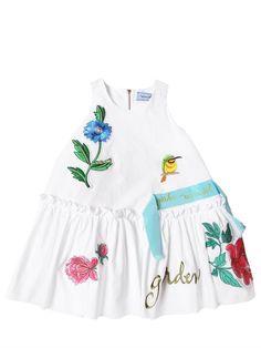 MIMISOL - FLORAL EMBROIDERED COTTON POPLIN DRESS - WHITE