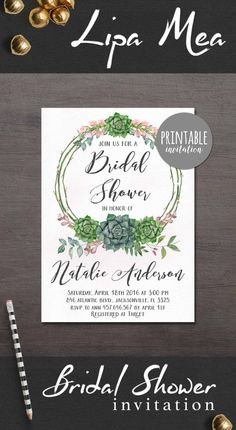 Succulent Bridal Shower Invitation, Floral Bridal Shower Invitations, Bohemian Bridal Shower Invite, Green & Pink Floral Bridal Shower Party Printable Invitation - pinned by pin4etsy.com