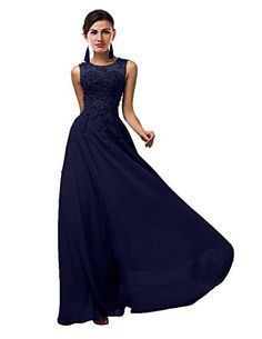 ThaliaDress Long Sheer Neck Evening Bridesmaid Dresses Prom Gown T004LF Navy Blue US22W >>> See this great product. Note: It's an affiliate link to Amazon