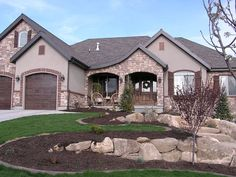 exterior houses that have a shingle roof and is stucco with some rock - Google Search