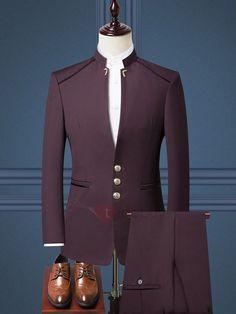 Men's Chinese style stand collar suit two-piece suit jacket + pants men's business formal suit wedding groom groomsmen dress Mens Fashion Suits, Fashion Pants, Mens Suits, Suit Men, Dress Fashion, Fashion Fashion, Fashion Outfits, Dress Suits For Men, Men Dress