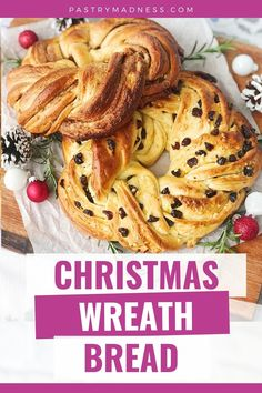 Today I want to show you how to make Christmas Wreath Bread. We'll make sweet yeast dough and two different fillings. This soft and fragrant wreath bread is a great way to start a holiday morning or to make it as a gift for your loved ones. Dried Cranberries, Dry Yeast, Baking Pans, Baking Recipes, Madness, Christmas Wreaths, Vegetarian, Bread, Breakfast