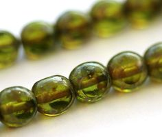 Picasso beads, Czech Glass beads - Olive green, round beads, spacers, round cut, fire polished - 6mm - 30Pc - 1967