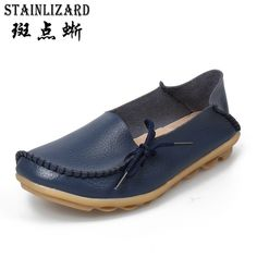 Today Offer $12.84, Buy Plus size women shoes fashion soft Leather women flats slip on Autumn women shoes casual Comfort loafers Female shoes SDT179