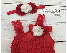 Christmas Red Lace Petti Romper and matching rhinestone pearl ivory flower headband - newborn infant toddler baby girl - Santa photo outfit