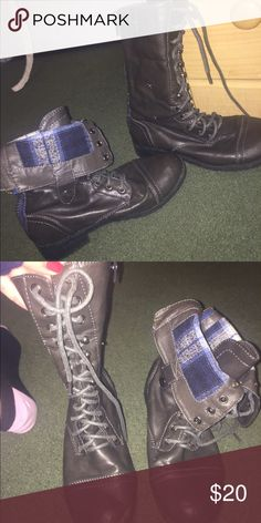 Gray Combat Boots Gray Combat Boots - can be folded over to show blue pattern or worn tall for classic look! Make an offer 😊 Shoes Combat & Moto Boots