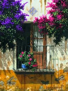 Not a garden, but beautiful Art Flowers. Stencil Painting, Watercolor Paintings, Pinterest Arte, Garden Windows, Illustration Art, Illustrations, Hand Drawn Flowers, Old Doors, Nature Pictures