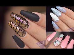 nail art compilation for long nails 2017 Long Nail Designs, Simple Nail Art Designs, Best Nail Art Designs, Acrylic Nail Designs, French Acrylic Nails, Almond Acrylic Nails, Gel Nail Art, Easy Nail Art, Gel Manicure