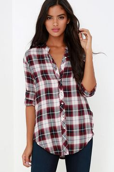 White Crow Mirror Mirror Wine Red Plaid Button-Up Top at Lulus.com!
