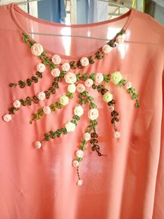 Wonderful Ribbon Embroidery Flowers by Hand Ideas. Enchanting Ribbon Embroidery Flowers by Hand Ideas. Embroidery On Kurtis, Kurti Embroidery Design, Embroidery Neck Designs, Hand Work Embroidery, Embroidery On Clothes, Shirt Embroidery, Embroidery Fashion, Silk Ribbon Embroidery, Hand Embroidery Patterns