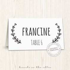 Printable place cards template editable seating cards wedding guest ...