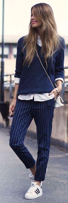 Striped Pants Urban Sporty Fall Inspo by Annette Haga