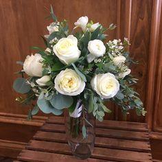 Boho style Bridesmaids bouquet with lush greenery & cream flowers
