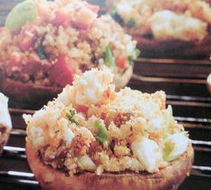 These delicious stuffed mushrooms would make a great side vegetable or a party appetizer. Use larger mushrooms to get more flavor in the dish.