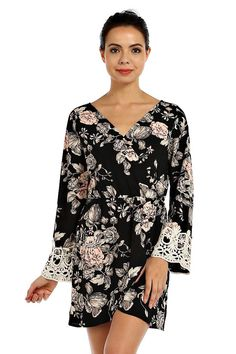 FLORAL PRINT LONG SLEEVE CHIFFON SURPLICE DRESS