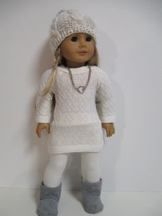 American Girl Doll Clothes Winter White/Grey by 123MULBERRYSTREET, $29.00
