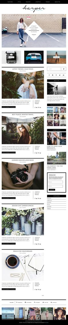 Harper is a #feminine #WordPress theme designed to transform your online presence through its modern and sophisticated design. #blog Download Now!