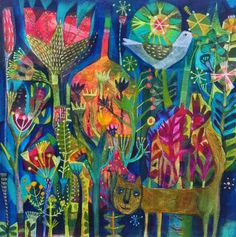 Vibrant color and fanciful floral garden scene Mixed media or painting combined?