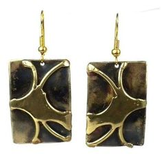 Handcrafted Burst of Energy Earrings Handmade and Fair Trade. Handcrafted by South African artisans, these heat-treated rectangular brass earrings incorporate accents of polished brass. The earrings are inches in length and hang from brass hooks. Brass Jewelry, Turquoise Jewelry, Jewelry Shop, Fashion Jewelry, Women Jewelry, Jewelry Accessories, Gold Jewellery, Diamond Jewelry, Vintage Jewelry