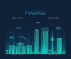 Madrid Skyline Trendy Vector Illustration Linear by gropgrop Madrid skyline detailed silhouette Trendy vector illustration linear style