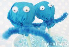 süße Bastelidee für #Party Mitgebsel oder zum #Basteln für die Sommerferien: Kraken Lollies #DIY give away - fun octopus  lollipops