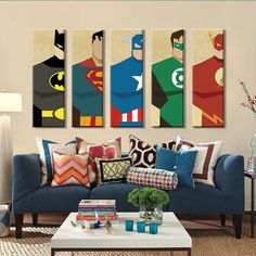 Buy Superman Canvas Painting 5 Pieces Superhero Modern Home Wall Decor Canvas Art HD Print Wall Pictures For Child Bedroom Unframed Kids Wall Decor, Home Wall Decor, Bedroom Themes, Kids Bedroom, Room Kids, Bedroom Wall, Bedroom Canvas, Lego Bedroom, Child Room