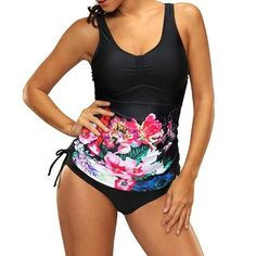 Women Two Piece Swimsuit Floral Leaf Print Tie Scoop Neck Slim Tankini Beach Swimwear Plus Size Bathing Suit Bikini Set Biquini Push Up, Bowtie And Suspenders, Women's Plus Size Swimwear, Floral Swimsuit, Fashion Deals, Plus Size Fashion For Women, Plus Size Jeans, Tankini Top, Two Piece Swimsuits
