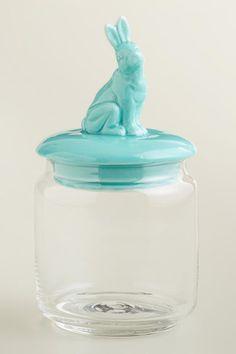 Aqua Easter Bunny Storage Jar