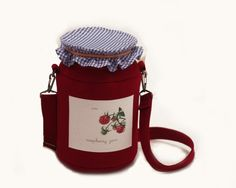 Raspberry Jam Jar Berries Felt Bag by krukrustudio on Etsy, $145.00