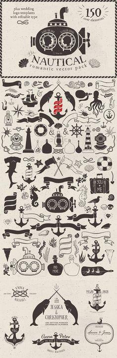Nautical Romantic Vector Pack // #photoshop #paintshop #scrapbbook