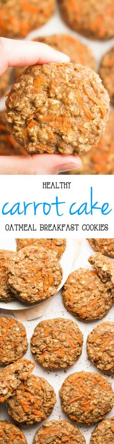Healthy Carrot Cake Oatmeal Breakfast Cookies -- only 74 calories, but they don't taste healthy at all! You'll never need another breakfast cookie recipe again! breakfast cookies for kids. Healthy Carrot Cakes, Healthy Cookies, Healthy Sweets, Healthy Baking, Healthy Snacks, Healthy Moms, Healthy Fit, Healthy Protein, Oatmeal Breakfast Cookies