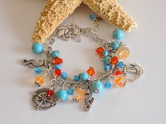Turquoise  Charm Bracelet Beach Jewelry Ocean by TreasuresofJewels