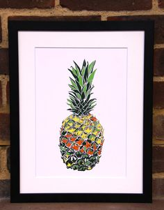 Pineapple illustration Print by Hatched Art Hatch Art, Pineapple Illustration, Pineapple Art, Food Art, How To Draw Hands, Art Prints, Creative, Handmade, Etsy