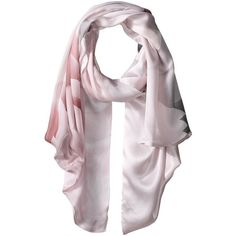 Ted Baker Maita Porcelain Rose Long Scarf (Nude Pink) ($159) ❤ liked on Polyvore featuring accessories, scarves, print scarves, pink scarves, long scarves, floral shawl and floral scarves