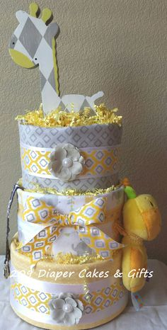 Yellow and Gray Giraffe Diaper Cake by 209 Diaper Cakes & Gifts - facebook.com/209diapercakes